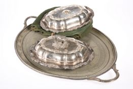 ~ A PAIR OF 19TH CENTURY SILVER-PLATED ENTREE DISHES