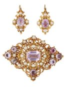 A 19TH CENTURY PINK TOPAZ AND PEARL BROOCH AND EARRING SUITE