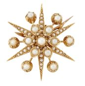 A LATE VICTORIAN PEARL STAR BROOCH/PENDANT