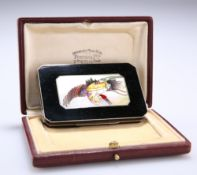 A FINE FRENCH ART DECO SILVER AND ENAMEL COMPACT