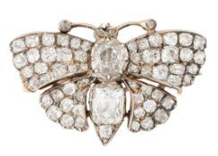 A DIAMOND BUTTERFLY BROOCH
