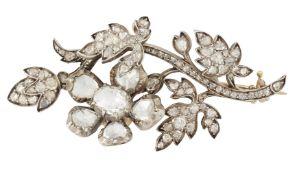 A DIAMOND EN TREMBLANT FLORAL SPRAY BROOCH