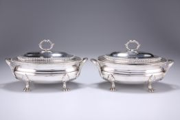 A PAIR OF GEORGE III SILVER SAUCE TUREENS,probably by William Stroud, London 1808, oval, the