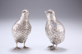 A PAIR OF IMPORTED SILVER QUAIL PEPPERS, EARLY 20TH CENTURY