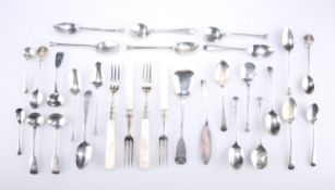 A GROUP OF ASSORTED GEORGIAN AND LATER SILVER FLATWARE