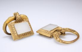 A PAIR OF 19TH CENTURY CHINESE GILT-METAL BUCKLES
