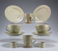A GROUP OF LEACH POTTERY CELADON TABLE WARES, comprising four bowls, four tea cups and five saucers,