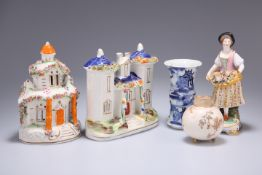 A GROUP OF CERAMICS, including a Stevenson & Hancock Derby figure, a Chinese blue and white vase,