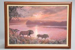 "~ PAUL AUGUSTINUS (DANISH, BORN 1952), ""CHOBE SUNSET"", signed lower right, oil on canvas, framed."