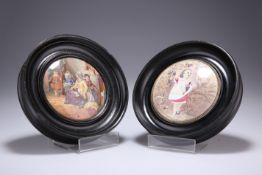 """A PAIR OF VICTORIAN POT LIDS, """"HIDE AND SEEK"""" AND """"AUTUMN"""", in moulded circular frames. 16.5cm"""