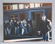GAVIN PENN (CONTEMPORARY), NEWCASTLE UNITED FANS QUEING OUTSIDE THE STRAWBERRY PUB, signed lower