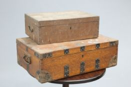 ~ TWO 19TH CENTURY COUNTRY HOUSE OAK CANTEEN BOXES, the first labelled 'MAKEPEACE & WALFORD', the