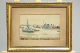 ELVA JOAN BLACKER (1908-1984), BOATS, signed and dated 1933 lower right, watercolour, framed. 18cm