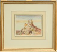 ALFRED BURGESS SHARROCKS, CASTLES, A PAIR, unsigned but labelled verso, watercolours, framed. (2)