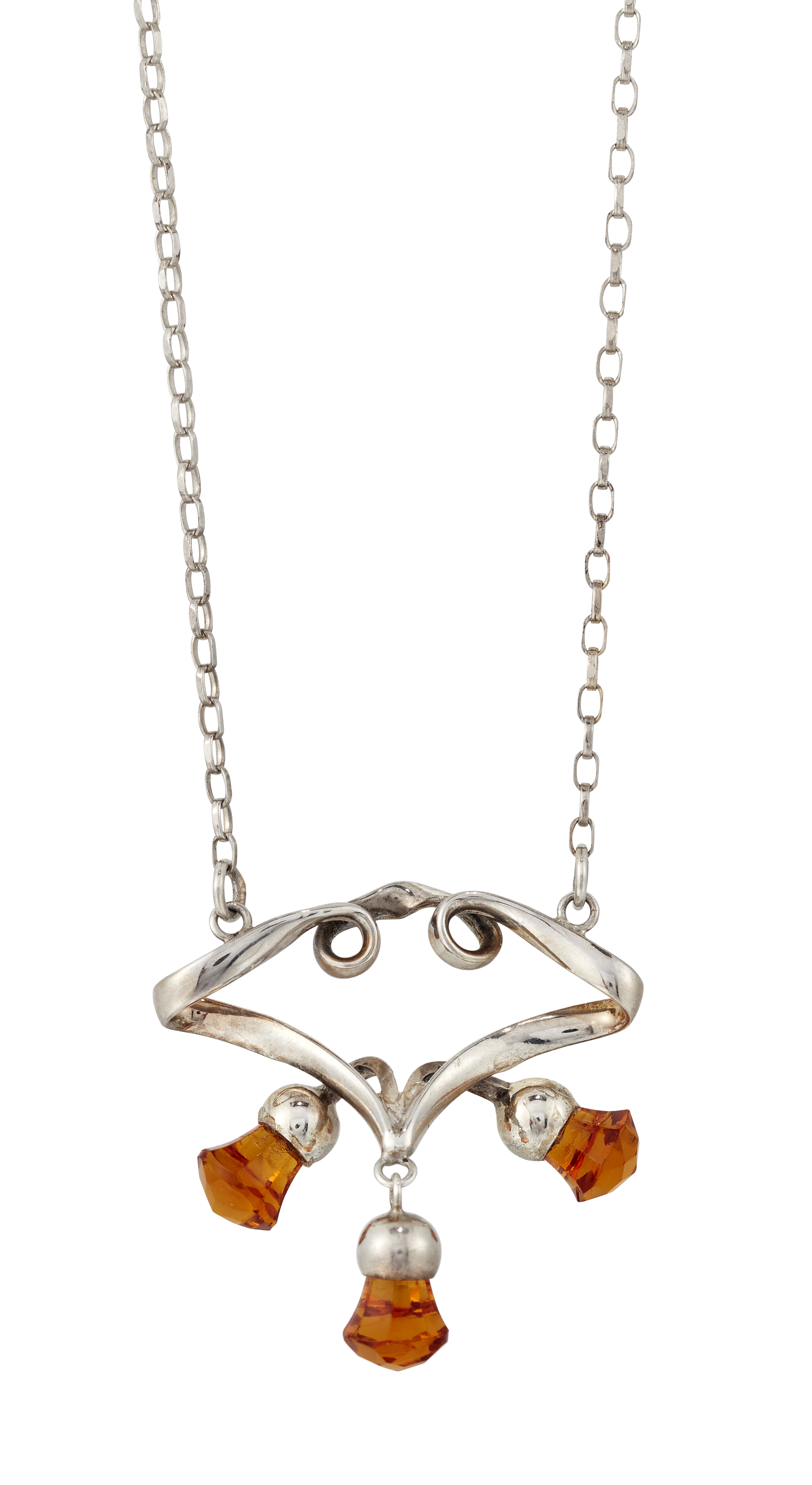 AN ART NOUVEAU SILVER AND PASTE PENDANT ON CHAIN, BY CHARLES HORNER