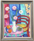 MARY TEMPEST (CONTEMPORARY), GERBERAS WITH RED CHAIR
