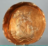 A LARGE ARTS AND CRAFTS COPPER DISH