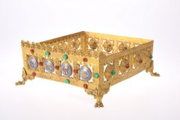 A GOTHIC REVIVAL 'JEWELLED' BRASS MISSAL STAND, CIRCA 1870
