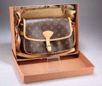 LOUIS VUITTON SOLOGNE SHOULDER BAG, in monogrammed canvas with light tan trim and shoulder strap,