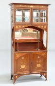 AN ART NOUVEAU INLAID MAHOGANY CABINET, IN THE MANNER OF SHAPLAND & PETTER