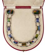 AN ARTS & CRAFTS SILVER AND ENAMEL BELT, ATTRIBUTED TO CHARLES FLEETWOOD VARLEY