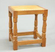 ROBERT THOMPSON OF KILBURN, A MOUSEMAN OAK DRESSING TABLE STOOL