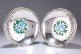 GEORG JENSEN, A RARE PAIR OF DANISH SILVER AND ENAMEL BOWLS