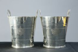 A PAIR OF ART DECO SILVER-PLATED WINE COOLERS