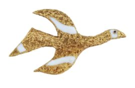 """A 1960s SAPPHIRE AND ENAMEL BIRD BROOCH, """"TITHONOS"""", BY GEORGE BRAQUE"""