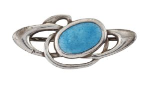 AN ART NOUVEAU SILVER AND ENAMEL BROOCH, BY CHARLES HORNER