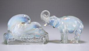 A JOBLINGS OPALIQUE PRESSED GLASS MODEL OF AN ELEPHANT
