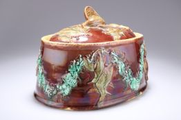 A MAJOLICA GAME PIE DISH, PROBABLY WEDGWOOD, CIRCA 1880