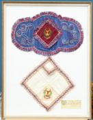 TWO FRAMED EXAMPLES OF PETIT POINT EMBROIDERY