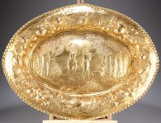 A LARGE 19TH CENTURY GILT METAL CHARGER
