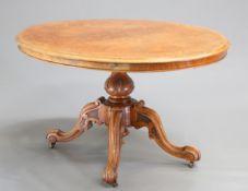 A VICTORIAN BURR WALNUT TILT-TOP LOO TABLE