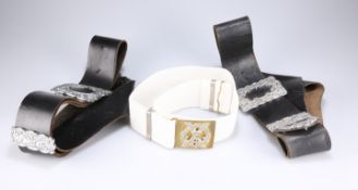 A BLACK LEATHER DRUMMER'S BALDRICK BELT