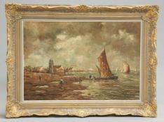 FLEMISH SCHOOL, FISHERMEN AND BOATS ON THE SHORE
