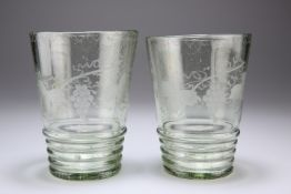 A PAIR OF SODA GLASS TUMBLERS