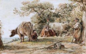JOHN LINNELL (1792-1882), CATTLE AND HERDSMAN REST
