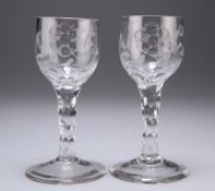 A PAIR OF JACOBITE WINE GLASSES