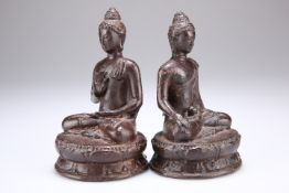 TWO CAST METAL FIGURES OF BUDDHA