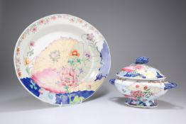 TWO PIECES OF CHINESE TOBACCO LEAF PATTERN PORCELAIN