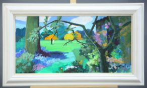 J.M POOK (1927-1011) THE ARBORETUM, CARTWRIGHT HALL, BRADFORD,signed and inscribed verso, acrylic