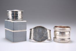 THREE NAPKIN RINGS, ONE HM, ONE UNMARKED, THE THIRD PLATED