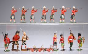 BRITAINS LTD, SEVEN STANDING INFANTRYMAN AND THREE PRONE