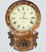 A MOTHER-OF-PEARL INLAID WALL CLOCK