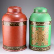TWO TOLE WARE TEA CANISTERS