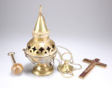 A 19TH CENTURY GOTHIC REVIVAL BRASS THURIBLE CENSER