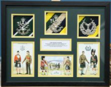 A BOX FRAMED DISPLAY OF GLENGARRY BADGES
