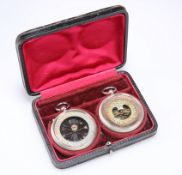 A FRENCH PLATED METAL CASED POCKET BAROMETER AND TH